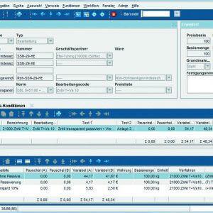 Screenshot Angebotskalkulation in ERP-Software für Oberflächenveredelung