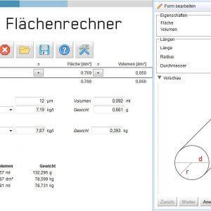 Screenshot Softec Flächenrechner